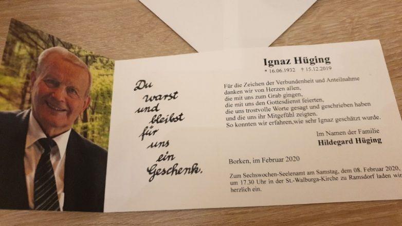 Ignaz Hüging  † 15.12.2019