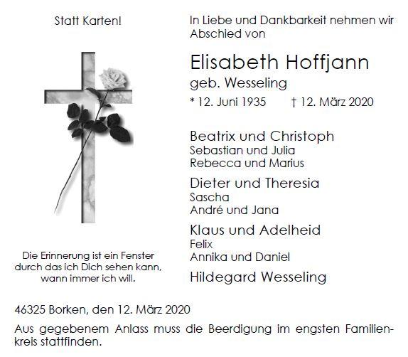 Elisabeth Hoffjann † 12.03.2020